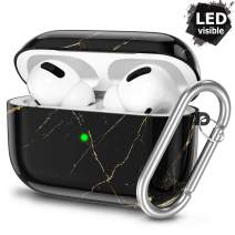 Hamile Case for AirPods Pro Case 2019 [Front LED Visible] Shockproof TPU AirPod Pro Protective Hard Case for AirPod 3, Support Wireless Charging - Black Gold Marble