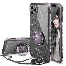 OCYCLONE iPhone 11 Pro Case [5.8 inch], Not iPhone 11 [6.1 inch] Case, Glitter Bling Diamond Bumper with Ring Grip Kickstand Protective Thin Girly Pink Case for iPhone 11 Pro [5.8 inch], Purple Black