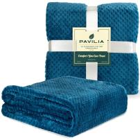 PAVILIA Premium Flannel Fleece Throw Blanket for Sofa Couch | Teal Blue Waffle Textured Soft Fuzzy Throw | Warm Cozy Microfiber | Lightweight, All Season Use | 50 x 60 Inches