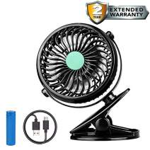 PELAT Stroller Fan Clip on Fan Rechargeable Battery Operated Portable Cooling Fan with Adjustable Speed, Mini Fan for Baby Stroller, Car, Gym, Travel, Office and More, 2000mAh Battery(Black)