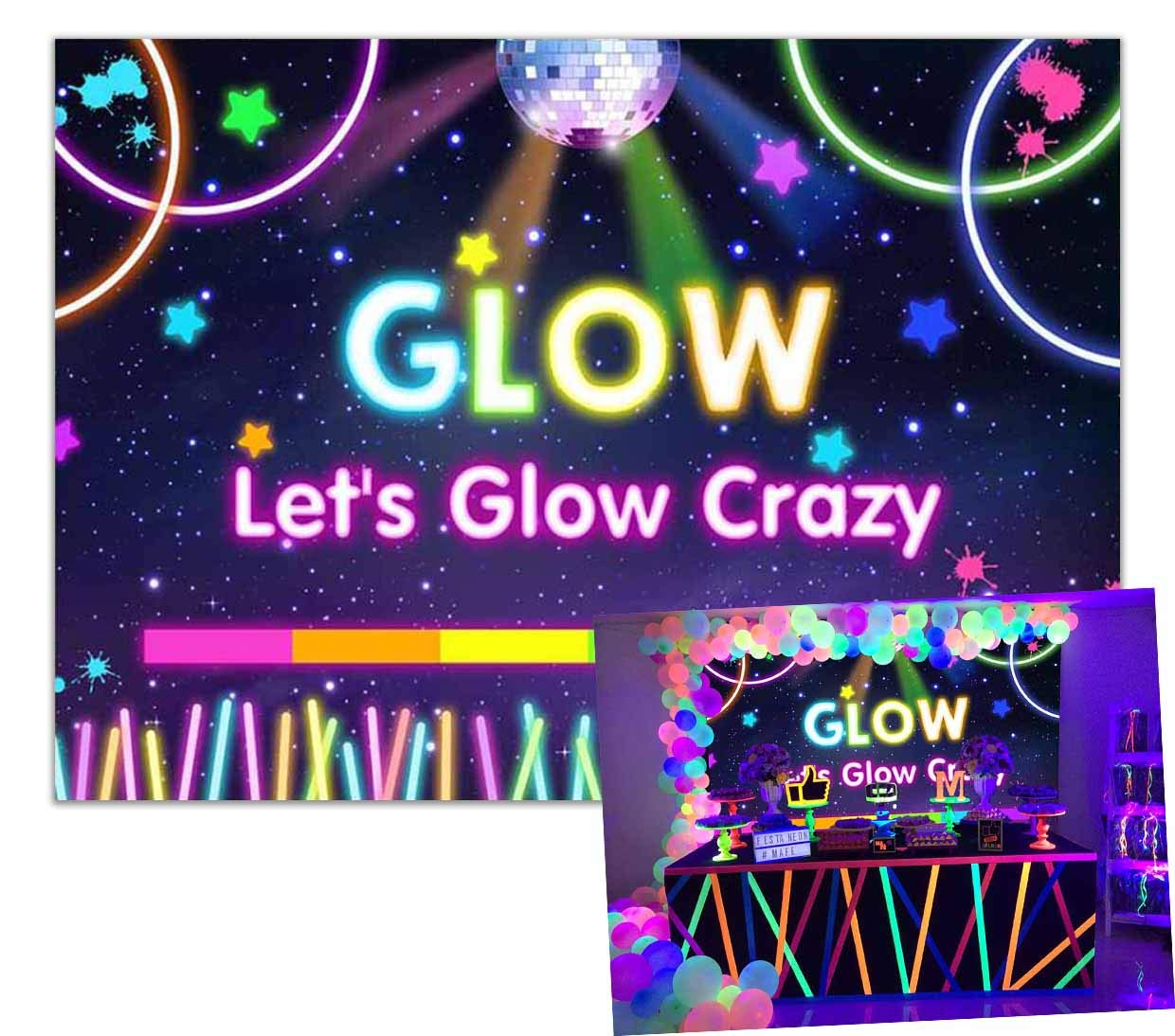 Allenjoy 7x5ft Lets Glow Crazy Backdrop Neon Blacknight Colorful Laser Aperture Splatter Photography Backgrounds Disco Bance Birthday Party Banner Decorations Photo Booth Props