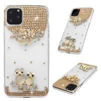 iPhone 11 Pro Max Case, Mavis's Diary 3D Handmade Luxury Bling Parent-Child Owl Golden Flowers Shiny Crystal Diamond Glitter Rhinestone Gems Clear Hard PC Cover for iPhone 11 Pro Max