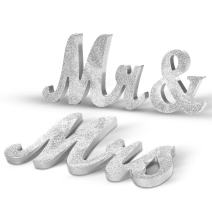 Haperlare Vintage Style Mr and Mrs Sign Mr & Mrs Wooden Letters Wedding Sign with Silver Glitter for Christmas Decorations,Wedding Table,Photo Props,Party Table,Top Dinner Decoration