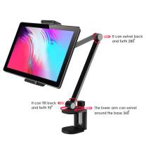 """MagicHold Aluminum Long Arm Tablet Stand Mount Compatible with iPhone/iPad/iPad Mini/iPad Pro 12.9"""" Any Phone/Tablets 4-13 inch,360° Swivel with Bracket Cradle for Home, Office,Kitchen and Bed"""