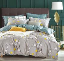 SLEEPBELLA Duvet Cover Queen, 600 Thread Count Cotton Grey Branch with Yellow Turquoise Polka Dot Pattern Green Reversible Comforter Cover(Queen, Grey Branch)