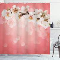 """Ambesonne Coral Shower Curtain, Blossoming Tree Branch Japanese Cherry Sakura Fresh Spring Garden Romantic, Cloth Fabric Bathroom Decor Set with Hooks, 84"""" Long Extra, Coral Green"""
