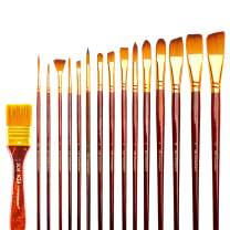 Transon Art Paint Brush Set with Brush Case Assorted 16pcs for Acrylic, Watercolor, Gouache, Oil Painting, Tempera and Body Painting