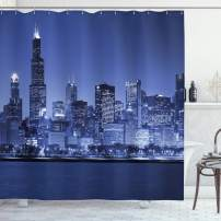 """Ambesonne USA Shower Curtain, Chigago City Skyline at Night with Tall Buildings Urban Modern Life America Town Scene, Cloth Fabric Bathroom Decor Set with Hooks, 70"""" Long, Violet Blue"""