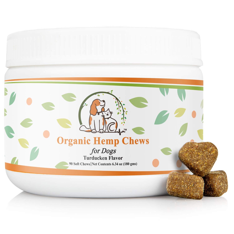 Valerio Organic Dog Hemp Chews 90ct, USDA Organic Hemp Oil, Chamomile, Calming Aid, Joint, Hip Pain, Calm Chew, Anxiety Relief, Thunder, Travel, Fireworks, Seizure, Soft Treat