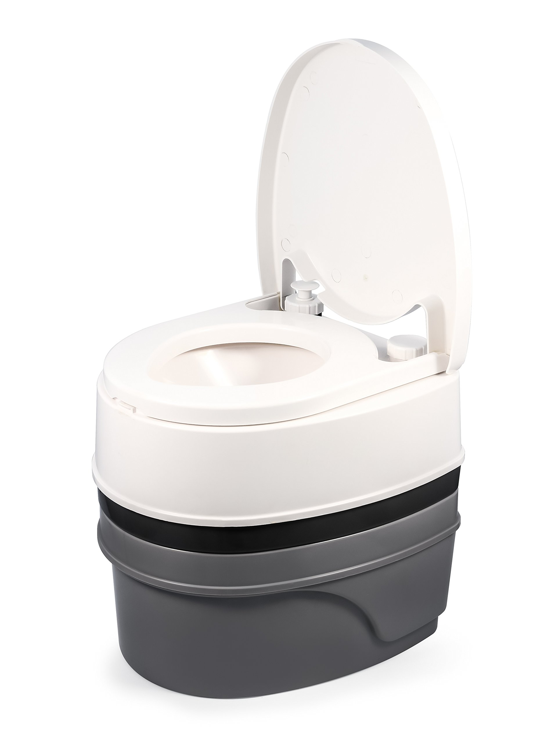 Camco Premium Travel Detachable Tank-Simple Use and Maintenance | Excellent Outdoor Toilet Designed for Camping, Hiking, Boating, RVing and More | 5.3 Gallon Capacity Commode (41544)