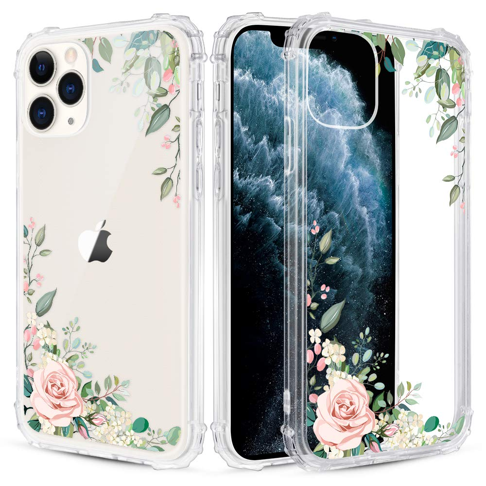 Caka Flower Clear Case for iPhone 11 Pro Floral Clear Flower Floral Pattern Design for Girls Women Girly Cute Slim Soft TPU Transparent Shockproof Protective Case for iPhone 11 Pro (Light Green)