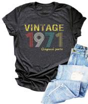Vintage 1971 T Shirt Women 50th Birthday Gift Shirts Funny Cute Birthday Party Tees Shirts Casual Retro Blouse Tops