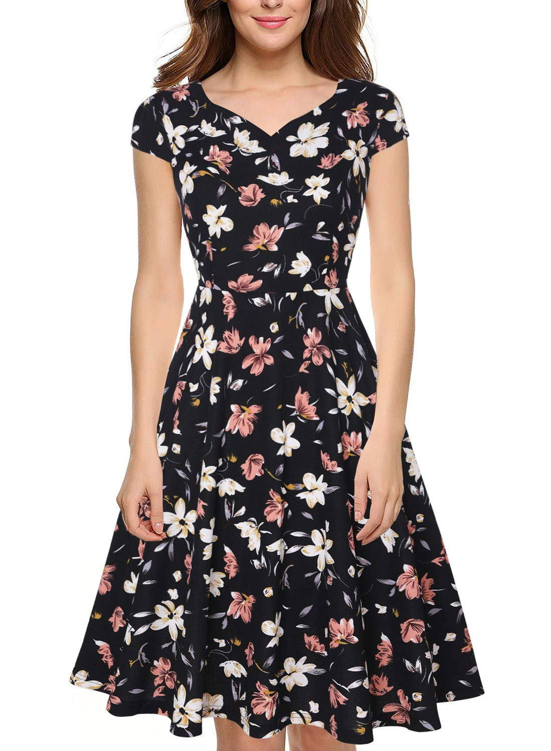 oten Women Summer Casusl Cap Sleeve Pockets Floral Flared A Line Swing Cocktail Party Dress