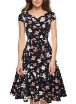 oten Women Summer Casusl Cap Sleeve Pockets Floral Flared A Line Swing Cocktail Party Dress