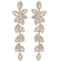 mecresh Silver/Gold Long Wedding Chandelier Teardrop Austrian Crystal Leaf Earrings for Women Brides Bridesmaid