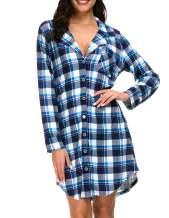 Nightgown Women's Long Sleeve Nightshirt Boyfriend Sleep Shirt Button-up Dress Lapel Collar Pajamas Top