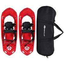 Goplus 25-inch Snowshoes for Men and Women, Lightweight Snowshoes w/Heel Lift, Adjustable Ratchet Bindings, Hard Rack Grip Teeth and Carrying Bag, Anti Slip Snow Shoes for Hiking, Climbing