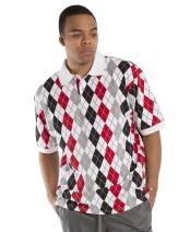 Vibes Men's Multi Color Argyle Printed Pique Polo Shirts Relax Fit Short Sleeve