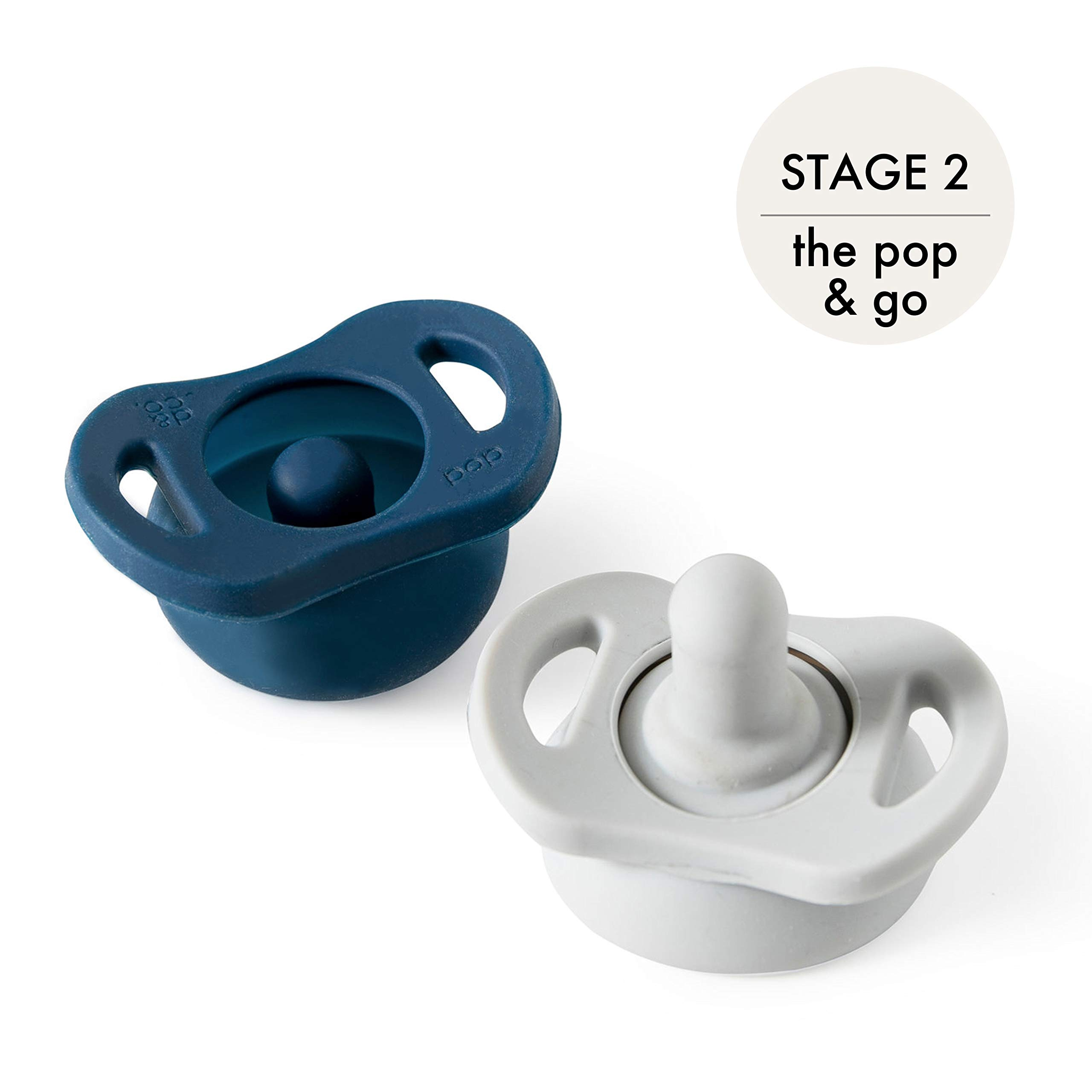 Doddle & Co. | Pop & Go Pacifier | Built-in Pacifier Case | Pinch to Close Version | 2-Pack - Stage 2 for Ages 3+ Months | Natural Nipple | 100% Silicone | BPA Free for Baby Infant (Navy/Grey)