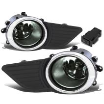 Replacement for Sienna Driving Bumper Fog Light + Bezel Covers + Wiring + Switch (Chrome Ring Smoked Lens)