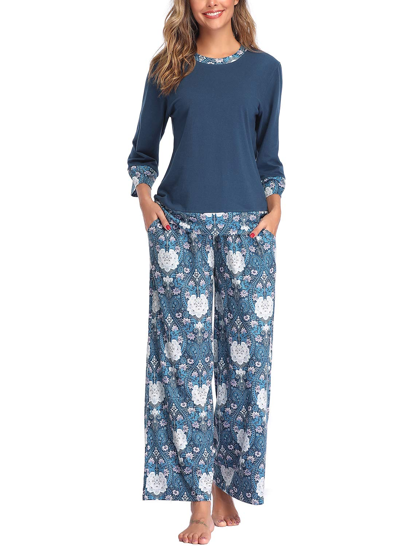 Lusofie Womens Pajama Sets Long Sleeve Pj Lounge Pants Set Soft Stylish Print Sleepwear