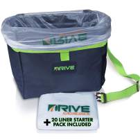 Car Trash Can and Garbage Bag Set: Leak Proof Trash Container with Lid and Accessories to Keep Your Auto Interior Clean - The Drive Bin As Seen on TV Collective - 1-Pack XL, Green Strap