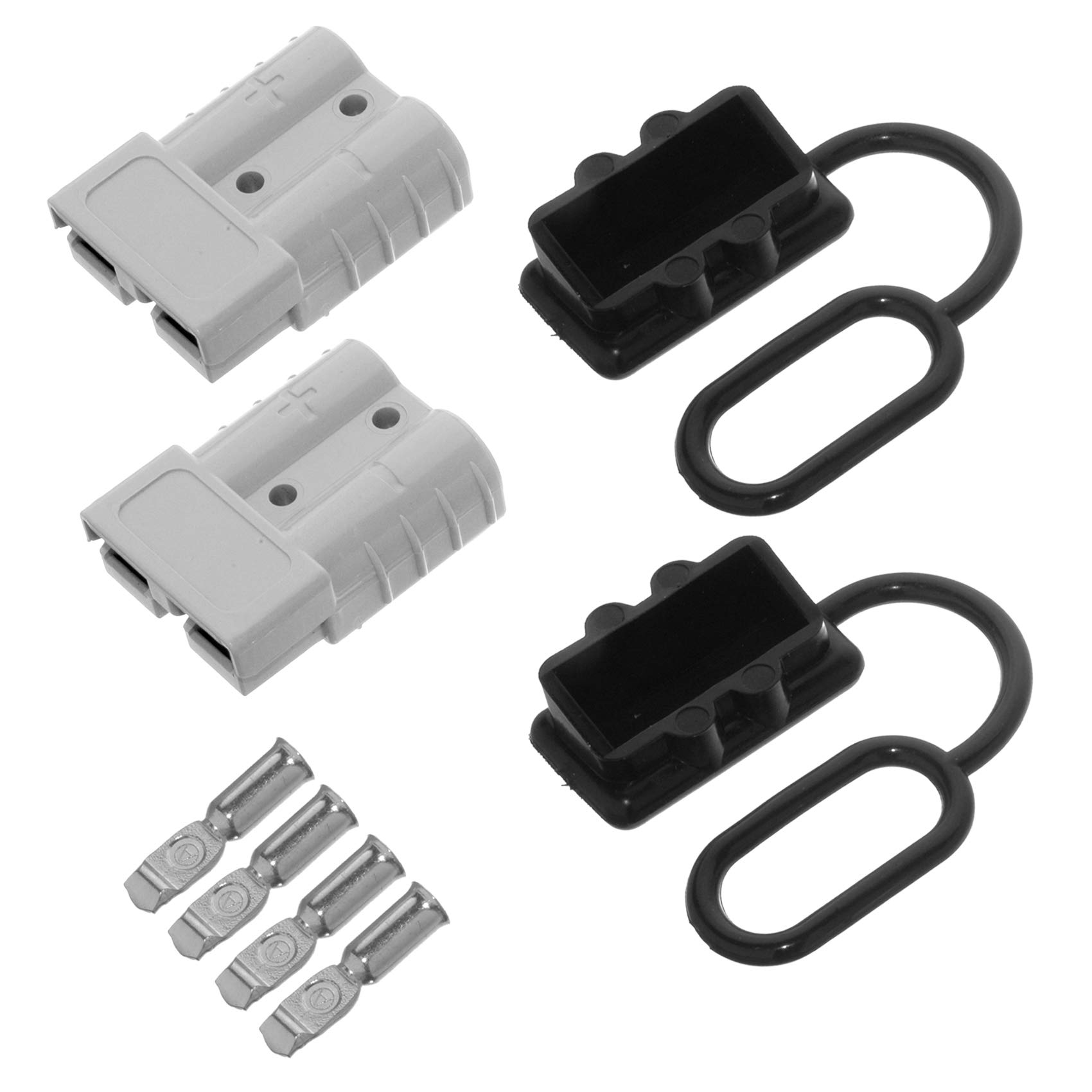 MUYI 6 10 12 AWG Jumper Cable Quick Connect 50A Battery Winch Disconnect Wire Harness Plug Kit 12-36V Battery Cable Quick Connect (50A 6-10/12AWG (2 PACK), Grey Battery Quick Connect)