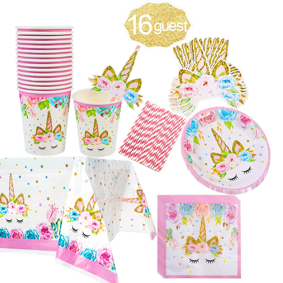 Unicorn Themed Party Supplies Set,Unicorn Cake Plates,Cups,Napkins,Tablecloth,Straws&Decoration,Paper Disposable Tableware Set for Girls Children Birthday Party or First,Baby Shower, Serves 16 Guests