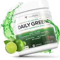 Daily Greens Superfood Powder: Best Tasting Non-GMO Greens Detox Powder with Spirulina, Matcha Green Tea, Barley Grass Juice Powder, Vegan, Lime Mint, 30 SRV