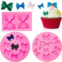 3 Pieces Mini Bow Silicone Fondant Molds Bowknot Fondant Chocolate Candy Molds Bow Sugar Craft DIY Cake Molds for Birthday Party Cake Cupcake Decoration