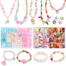 ANDYKEN Beads for Kids Crafts - Bead Bracelets for Kids Beads for Jewelry Making Kids Colorful Acrylic Girls Bead Set Jewelry Crafting Set