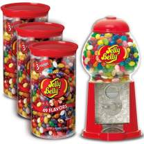 Jelly Belly Mini Jelly Bean Dispenser Machine + 3 Jelly Belly Jelly Beans 3 Pound Tubs (9 Lbs total), 49 Assorted Flavors, Kosher Certified