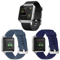 ESeekGo 3-Pack Compatible with Fitbit Blaze Bands for Men Women, Silicone Sport Band with 1 Pcs Metal Frame Compatible with Fitbit Blaze Fitness Accessory Replacement Wristband