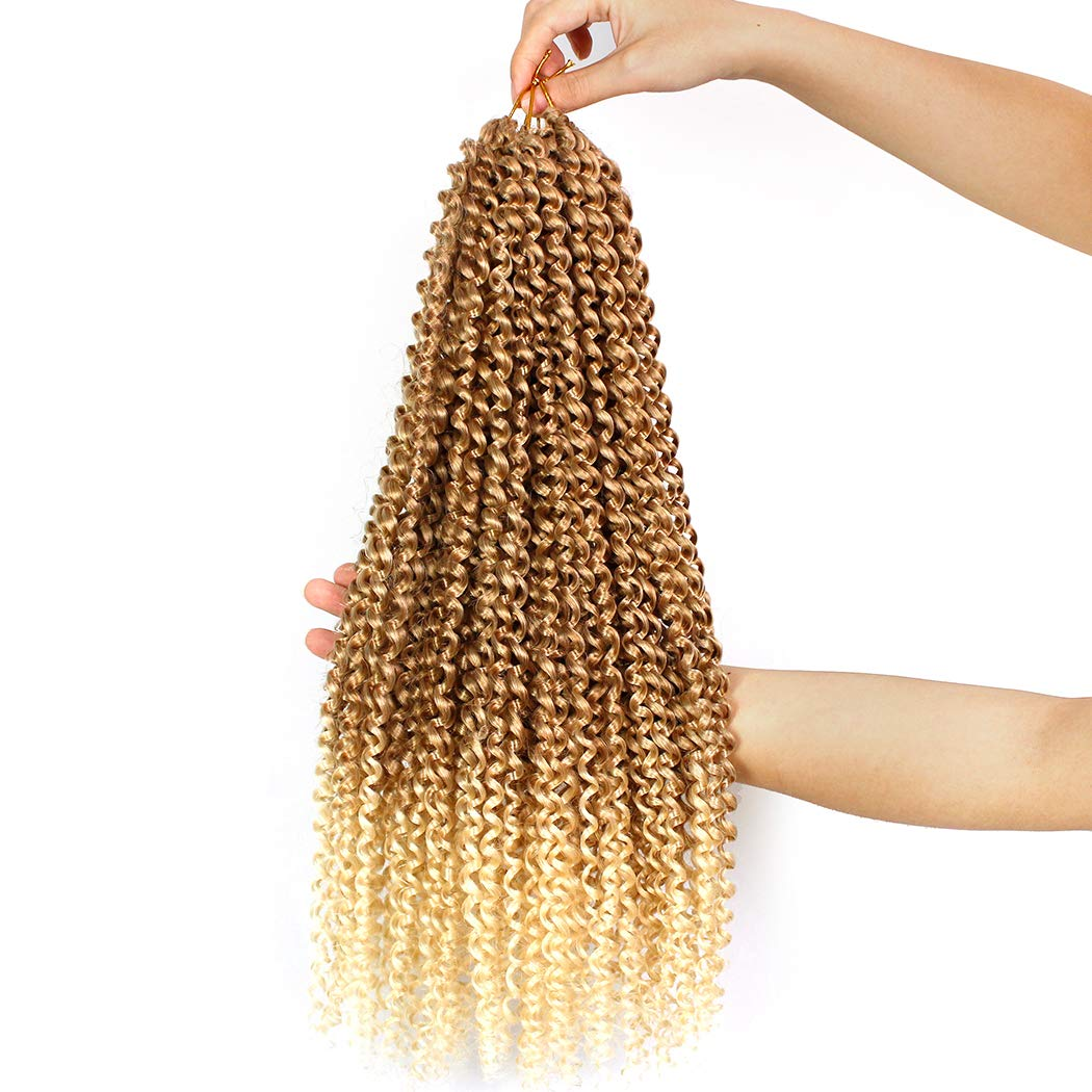 7 Packs Passion Twist Hair Braids 18 Inch Water Wave Synthetic Hair for Passion Twist Crochet Braiding Hair Goddess Locs Long Bohemian Locs (22Strands/Pack, T27/613#)