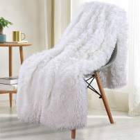 "Noahas Shaggy Longfur Throw Blanket with Sherpa Warm Underside, Super Soft Cozy Large Plush Fuzzy Faux Fur Blanket, Lightweight and Washable Kids Girls Room Decorative Blanket, 60""x80"", Pure White"