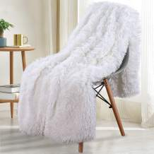 Noahas Shaggy Longfur Throw Blanket with Sherpa Warm Underside, Super Soft Cozy Large Plush Fuzzy Faux Fur Blanket, Lightweight and Washable Kids Girls Room Decorative Blanket, 50''x60'', Pure White