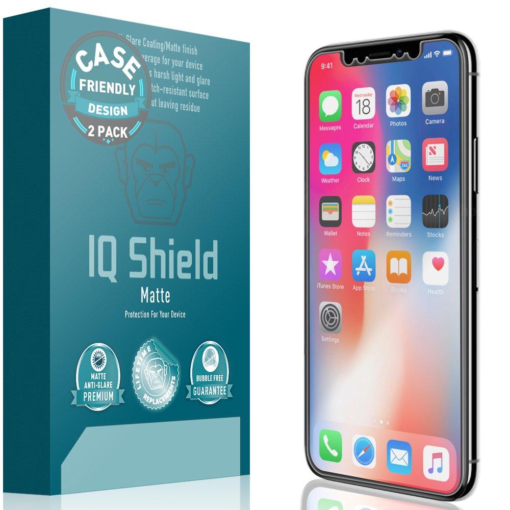IQ Shield Matte Screen Protector Compatible with iPhone X (Case Friendly)(2-Pack) Anti-Glare Anti-Bubble Film