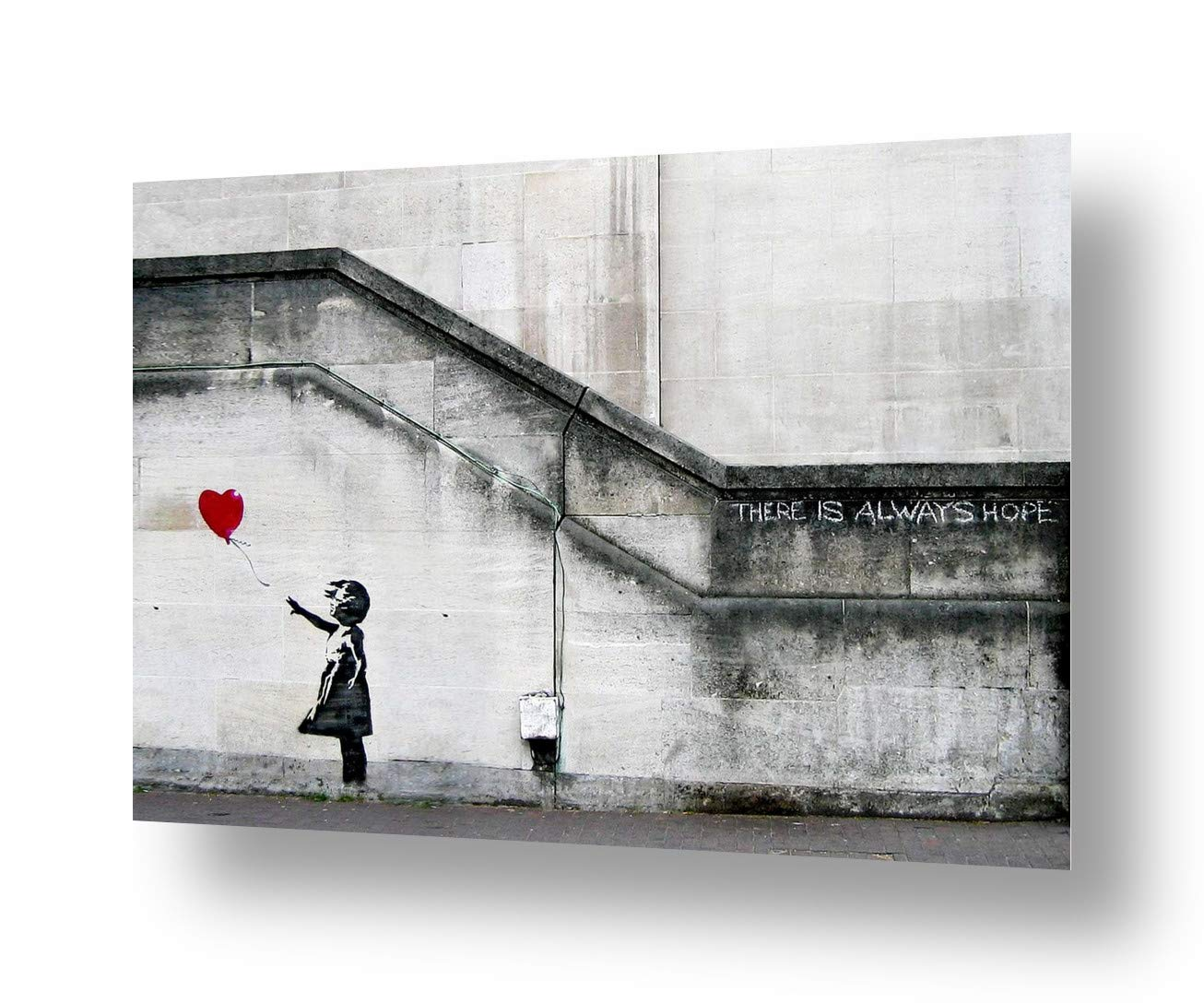 """Alonline Art - There Is Always Hope by Banksy   print on canvas   Ready to frame (synthetic, Rolled)   36""""x24"""" - 91x61cm   Wall art home decor for home or for dining room   artwork oil painting HD"""