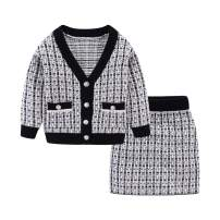 Mud Kingdom Little Girls Elegant Cable Knit Sweater Outfits Cute Plaid