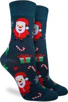 Good Luck Sock Women's Christmas Santa and Rudolf Socks - Green, Shoe Size 5-9