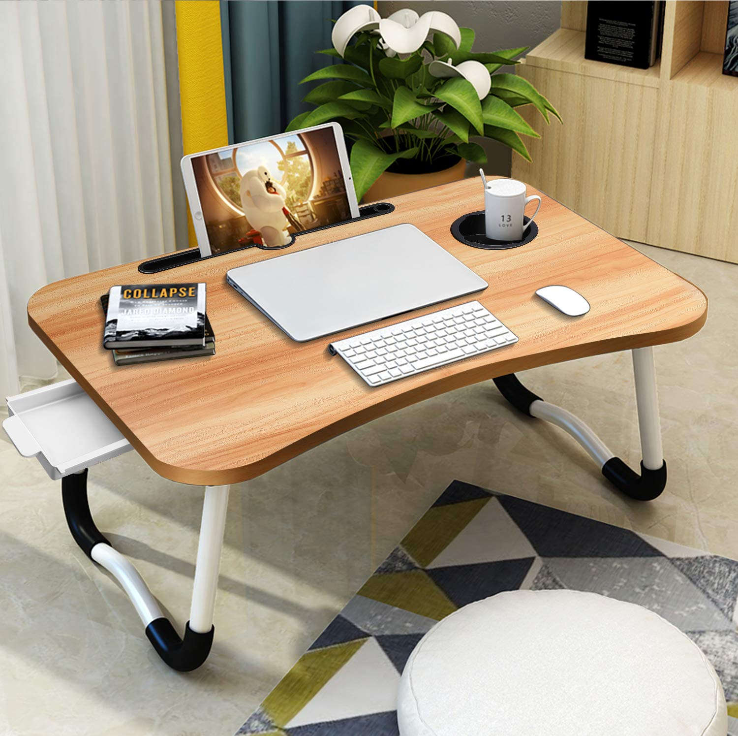 Laptop Desk for Bed,Villsure Portable Laptop Bed Tray Table Notebook Stand Reading Holder with Foldable Legs,Storage Drawer,Cup Holder for Eating, Writing,Reading, Watching Movie on Bed/Couch/Sofa