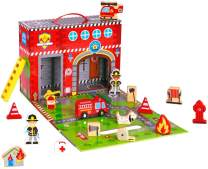 Pidoko Kids Fire Station Playset - 19 Pcs - Magnetic Portable Box - Easy Storage - Perfect Travel Toys Gift Set for Boys and Girls - 3 Year Old and Up - Wooden Accessories
