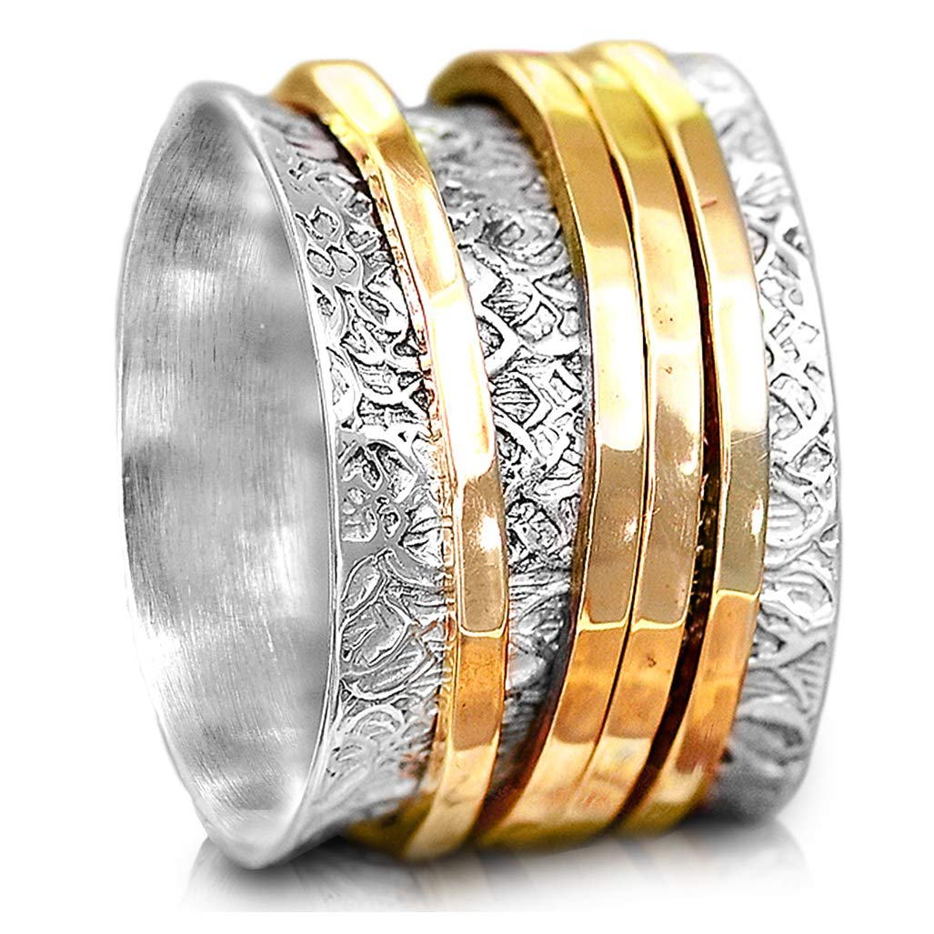 Boho-Magic 925 Sterling Silver Spinner Ring for Women with 4 Brass Fidget Rings Chunky Wide Band