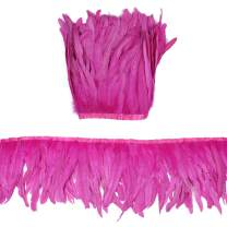 """Ws&Wt 2 Meters 10-12"""" Rooster Coque Tail Feather Fringe Trim, Craft Feather for DIY Sewing Costume and Accessories - Hot Pink"""
