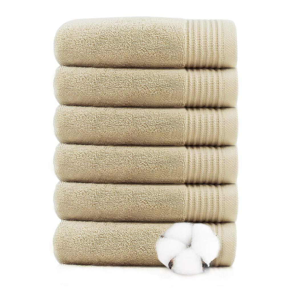 "VANZAVANZU Hand Towels for Bathroom 100% Cotton Super Soft Ring Spun Elegant Khaki Highly Absorbent Durable for Bath Face Gym Spa Hotel Salon Special Size 13"" x 29"" (Khaki, 6-Pack)"