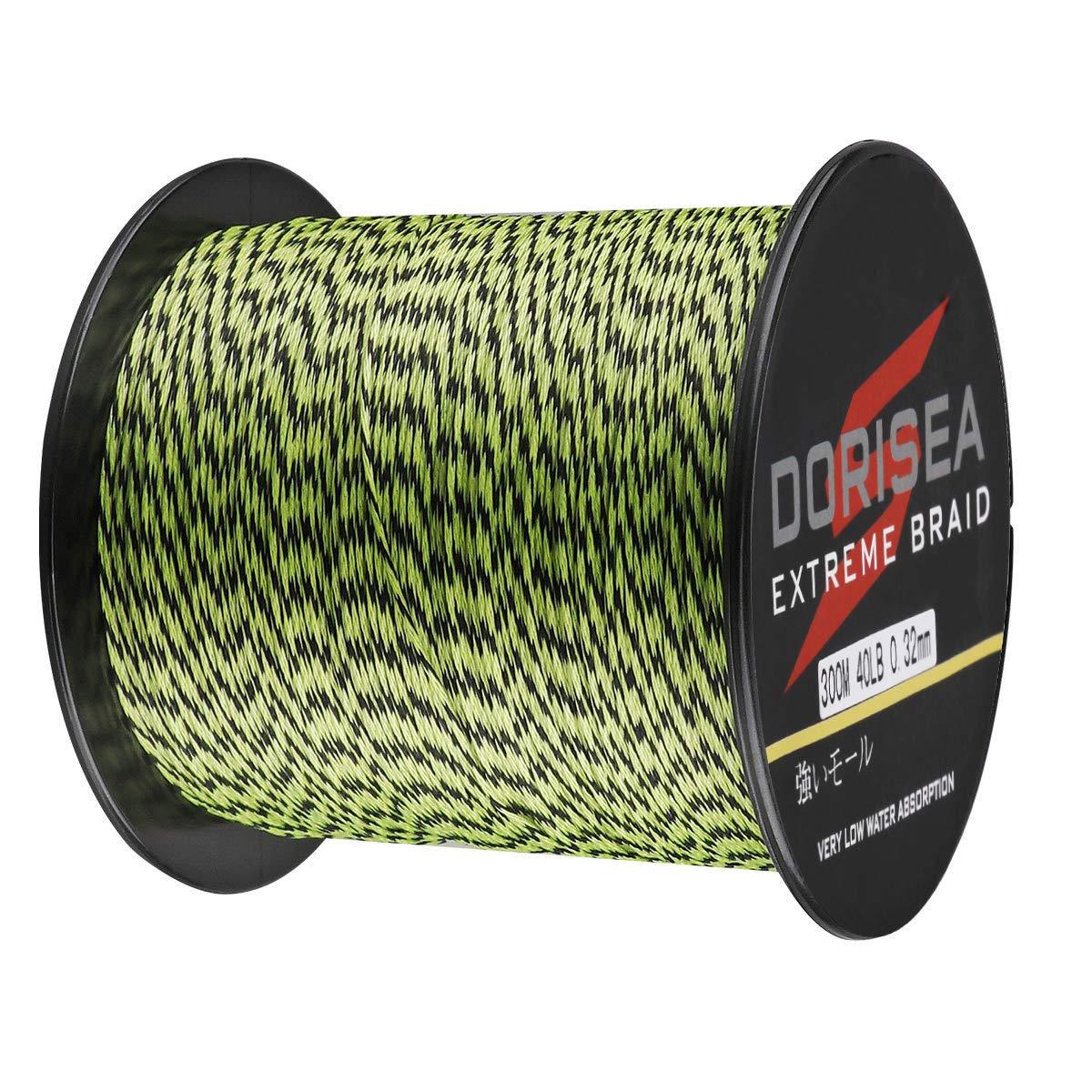 Dorisea Extreme Braid 100% Pe Multi-Color(Fluorescent Green&Black) Braided Fishing Line 109Yards-2187Yards 6-550Lb Test Fishing Wire Fishing String Superline