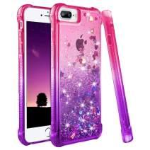 Ruky iPhone 6s Plus Case, iPhone 7 Plus 8 Plus Case, Gradient Quicksand Series Glitter Bling Liquid Floating TPU Bumper Cushion Girls Women Case for iPhone 6 Plus 6s Plus 7 Plus 8 Plus (Pink Purple)
