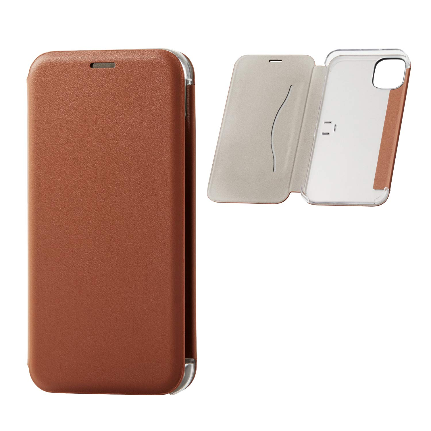 ELECOM-Japan Brand- PU Leather Flip Case Slim and Magnetic Type/Tri-Fold Stand/Compatible with iPhone 11/ Brown/PM-A19CPLFUKBR