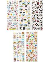 ALLYDREW 3D Puffy Stickers Bubble Stickers for Crafts & Scrapbooking (5 Sheets), Piggies, Kitties & Pandas