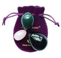 Kegel Muscle Training Eggs 3-pcs Set with 3 Sizes and 3 Gemstones, with Instructions, Made of Nephrite Jade, Rose Quartz and Obsidian, for Pelvic Floor Muscles Training, Polar Jade